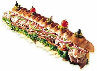 Our Delicious 3 foot sub or 6 foot sub (three foot sub six foot sub!)